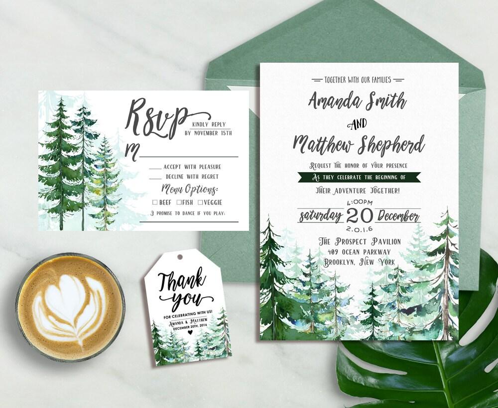 Winter Wedding Invitation Wording: Forest Wedding Invitation Winter Wedding Invitation Pine