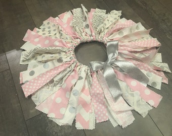Ready to ship... Baby pink and silver fabric tutu, first birthday scrap tutu