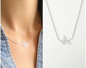 Origami Silver 925/000 - Silver origami jewelry, bird - origami necklace, 925 silver sterling necklace