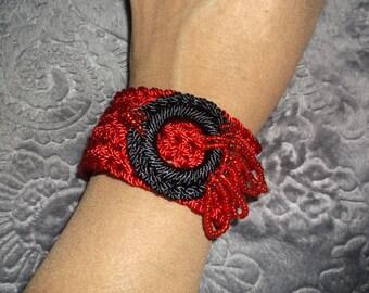 Red Crocheted Bracelet #189