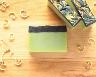 Green Tea & Ginger Handmade Soap, Natural Soap, Green and Black Soap, Wedding Favor, Baby Shower Favor, Cold Process Soap, Made in Michigan