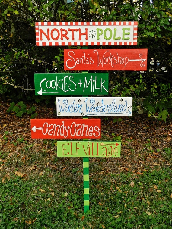 Items similar to the north pole sign christmas outdoor for Outdoor christmas signs