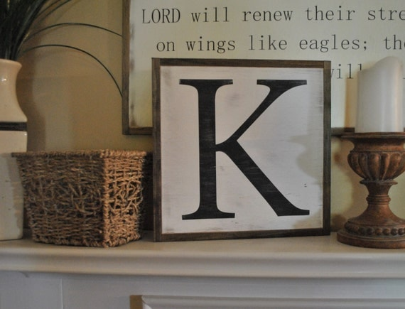 INITIAL LETTER 1'X1' framed sign | distressed shabby chic wooden sign | painted handmade initial wall art | elegant farmhouse decor