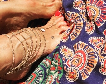 anklet , pulseira pé , layer feet accessories