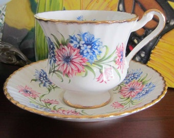 Paragon GA/E with Pink and Blue Mums Bone China Tea Cup and Saucer - Made in England