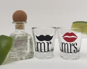 Mr & Mrs Shot Glasses, His and Hers shot glass, mustache shot glass, lips shot glass, wedding shot glass, wedding gift, engagement gift