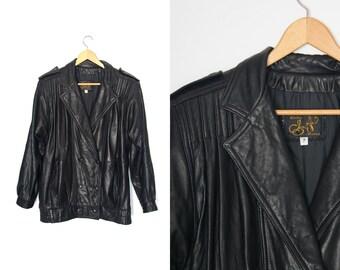 Vintage leather jacket. Black leather coat. Punk Rock Grunge. Soft leather. Made in Canada.