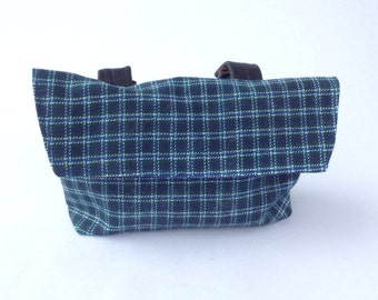 Bicycle Handle Bar Bag / Bike Bag / Clutch - Plaid Blue Fabric with purple lining and magnet clap