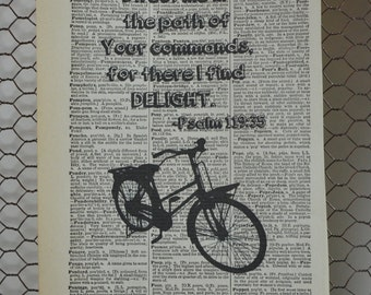 Psalm 119:35 Bike  Antique Dictionary Print