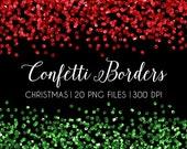 50% OFF SALE Christmas Glitter Confetti Borders Clip Art, Confetti borders, Red Green glitter confetti clipart, sparkly, wedding invitation,
