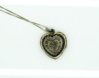 Sterling and Marcasite Puffed Heart Locket Sterling Silver Jewelry