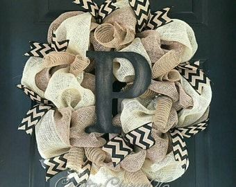Personalized Initial Wreath; Burlap Wreath; Year Round Wreath