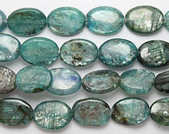 Blue kyanite smooth oval beads 10x14mm 8 inch strand