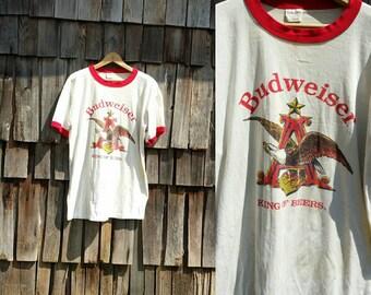 Vintage Budweiser shirt   80 beer shirt   80s Budweiser shirt   Eagle shirt