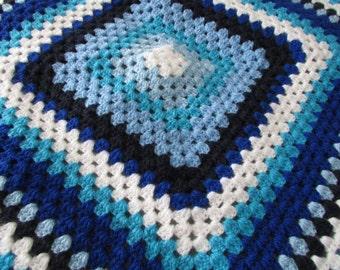 Striped Blue Crochet Blanket