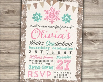 Winter Onederland Invitations Birthday 1st Party Our Little Shabby Chic Country Rustic Wood First teal Birthday Pink Snowflake BirthdayNV779