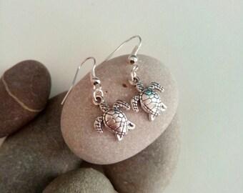 Cute Turtle Earrings, Charm Earrings, Dangle Earrings, Beach Jewelry, Cute Earrings, Nautical Jewellery, Silver Earrings, Ocean