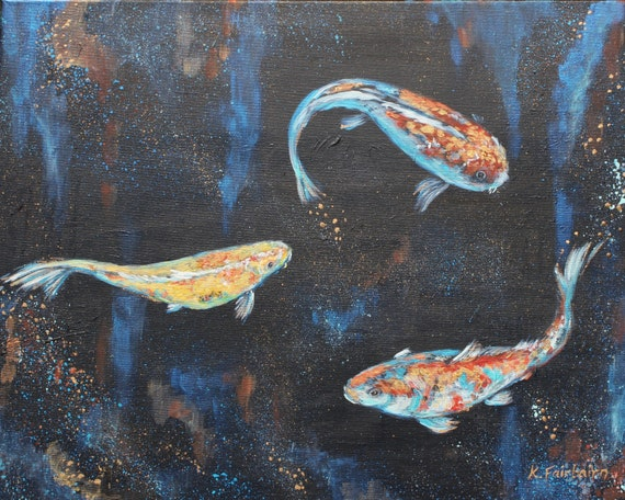 Koi carp original painting acrylic canvas fish aquatic for Original koi fish