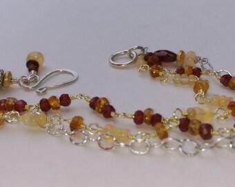 Multi Strand Garnet Citrine Opal Bracelet