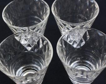 Liquor Shot Glasses Barware Set of Four Diamond Pattern