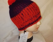 RETRO unique red and purple colour mix Handmade beanie hat double knit extra thick ski snowboard garden one size unisex wool #retro #gift