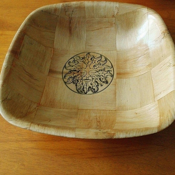 GREEN MAN Norse Pagan Wicca Viking  NATURAL wooden bowl unique fruit / egg basket / nic naks viking art