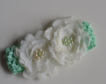 Hair Band/accessory for babies, with kanzashi flowers handmade-Headband for newborn with handmade flowers