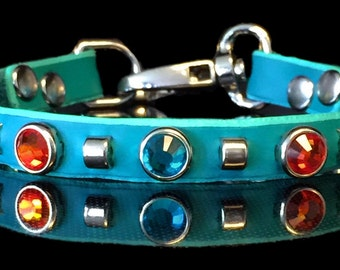 """The KITTY MONET Leather Cat Collar,  1/2"""" wide with elastic safety strap, Swarovski crystals and studs, by Picasso Collars"""