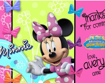 Printable Minnie Bow-tique Birthday Party Thank You Cards Personalized Minnie Mouse Mickey's Clubhouse