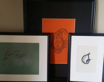 Discount ! Lot of 3 framed handmade dotworks.