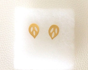 24k Yellow Gold Plated Leaf Earrings