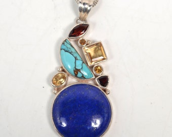 Sterling Silver Lapis, Turquoise, Citrine and Garnet Necklace