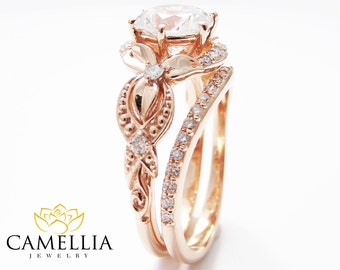 unique moissanite engagement ring set 14k rose gold engagement rings vintage floral moissanite rings - Unique Wedding Ring Set