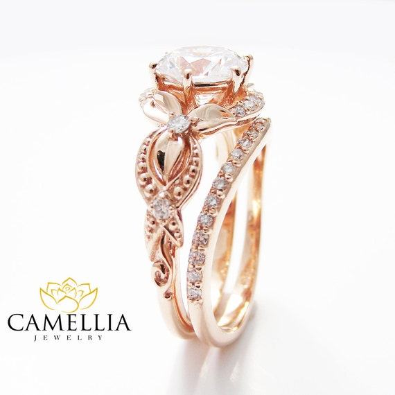Unique Moissanite Engagement Ring Set 14K Rose Gold Engagement
