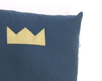 Blue pillow with crown