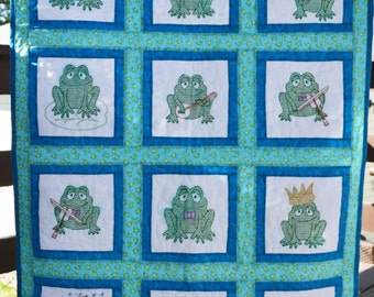 Cross Stitched Baby Frog Quilt