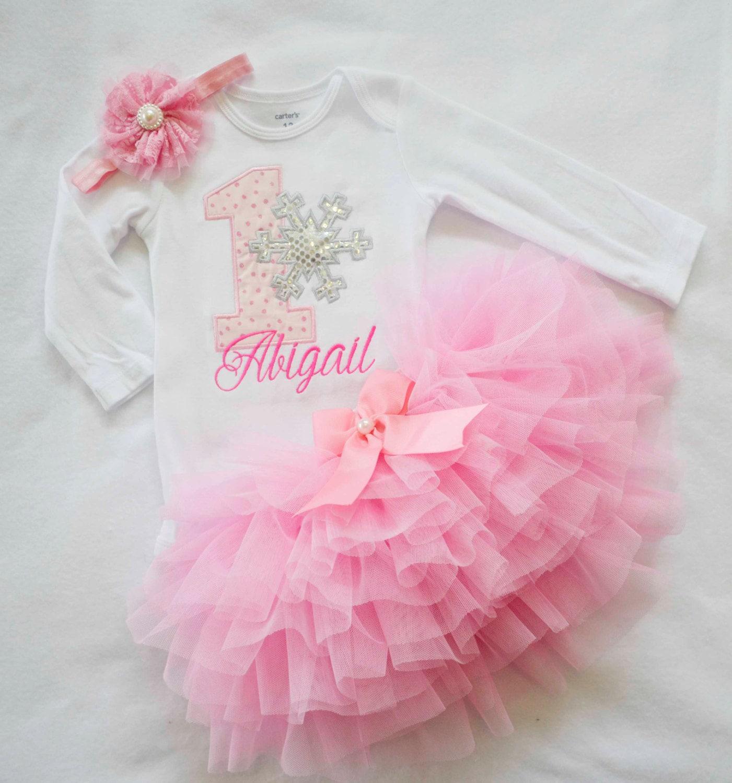 First Birthday Outfit GirlPink Silver Winter Onederland