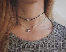The Mason Choker - Silver beaded diamond choker necklace on adjustable black cord.