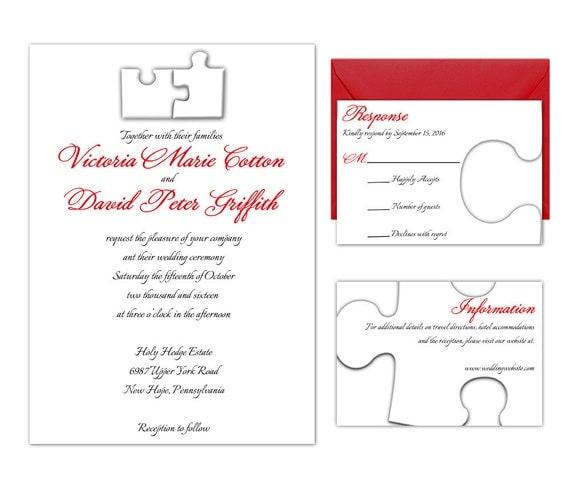 items similar to puzzle pieces wedding invitation suite