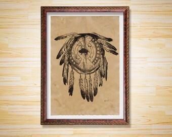 Dream Catcher poster Shield decor Native American print