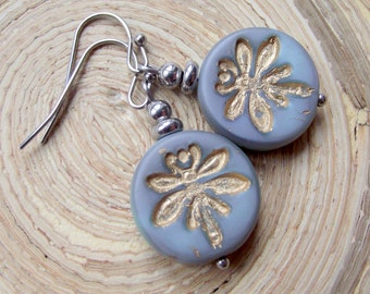 Earrings Dragonfly Dragonfly Czech beads