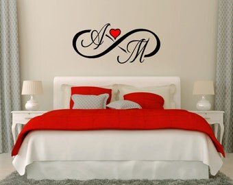 Infinity Symbol Wall Decals with heart and custom Initials