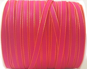 Bright Pink with Orange Edge 5mm (1/8in) Woven Ribbon