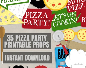 35 Pizza Party Photo Booth Props, pizzeria themed party props, love pizza party printables, diy cooking party sign, instant download