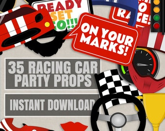 35 Race car themed party photo props, racing car party decor, racing party photobooth props, race car party photo booth printable, diy cars