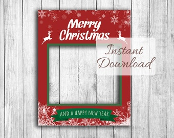Christmas photo booth frame, Instant Download, giant photobooth photo prop, xmas selfie, happy holidays party photo, printable holiday frame
