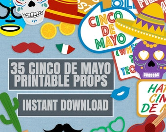 35 Cinco De Mayo Prop Printables, Mexican party props, cinco de mayo party, fiesta props, cinco de mayo photo booth props, instant download