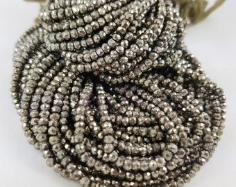 3 mm - 3.5 mm , Natural Pyrite Roundelle , 13 inches