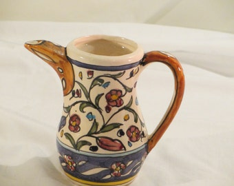 Vintage Hand Painted Pitcher Made by Armenian/Palestinian in Jerusalem