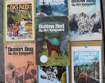 Vintage 1970s 1980s Jim Kjelgaard Books Lot of 7 Irish Red Wild Trek Desert Dog Nose for Trouble Outlaw Red Snow Dog Big Red